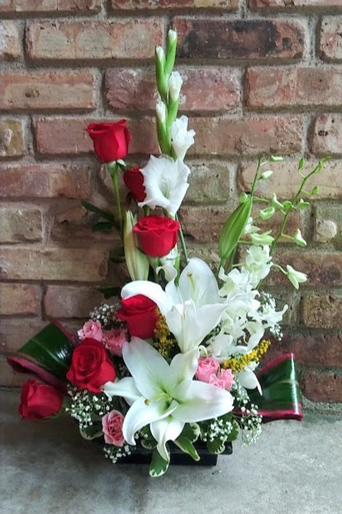 love with flowers; beautiful fresh flowers in an elegant floral design.