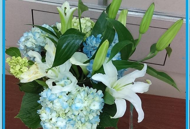 Hydrangeas and lilies.