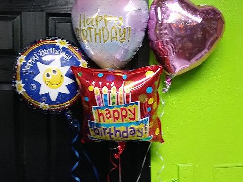 Birthday Balloons, Mylar balloons with helium.