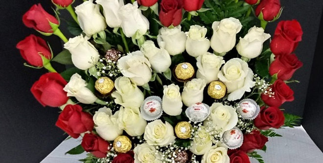 Our heart, product, red and white roses, heart shape, big size arrangement