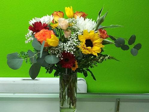 Colorful flowers arrangement, different colors flowers .