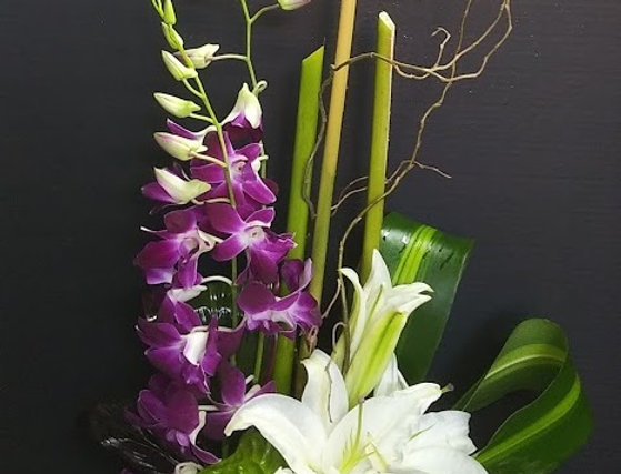 Lilies and orchids.