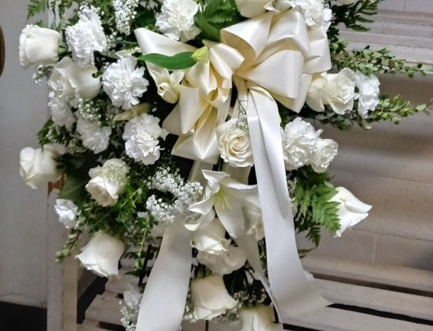 White flowers standing spray, funeral flowers