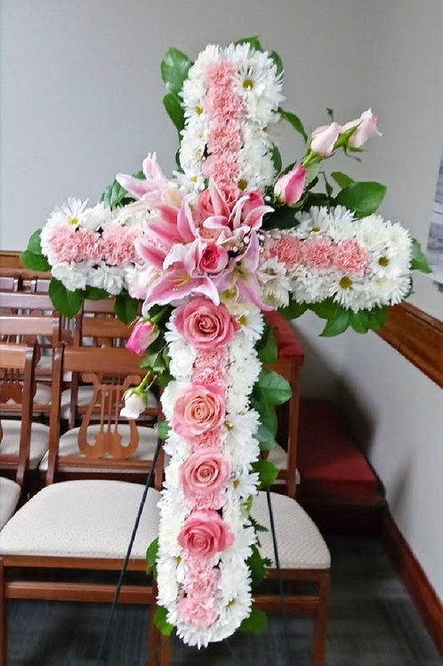 Pink and white funeral cross