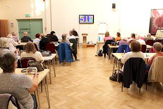 Inside the Unitarian meeting hall