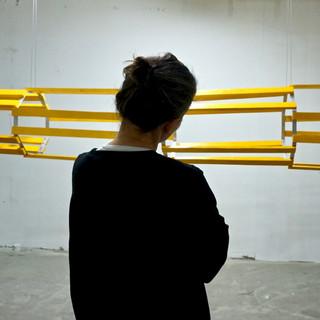 Stepanka artfully watching her art