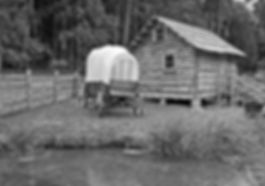 covered wagon log cabin