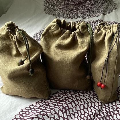 Lots de 3 sacs à vrac en lin