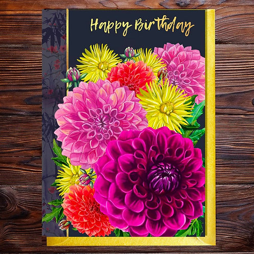 PACK of 6 Dahlia Birthday Blank with Gold Type