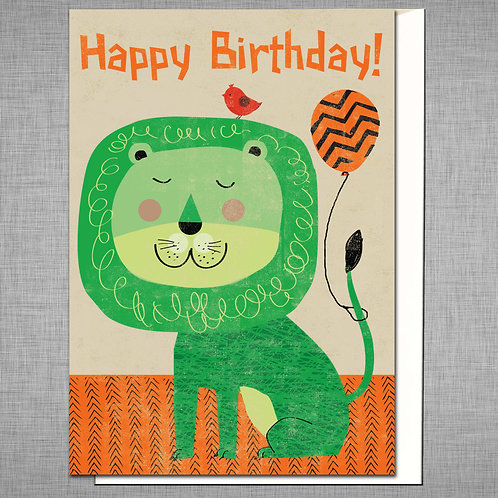 PACK of 6 Lion Birthday Card