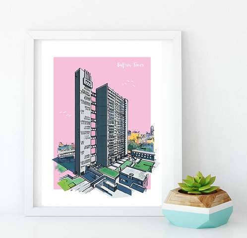 PACK of 2 Classic Balfron Tower London Print