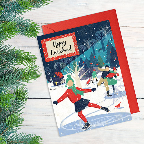 Ice Skaters Christmas Card