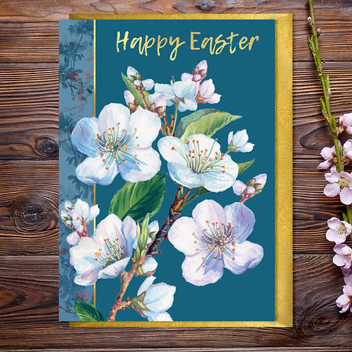 White Blossom Easter Card with Gold Type
