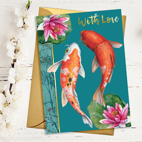 With Love Swimming Koi Card with Gold Detail