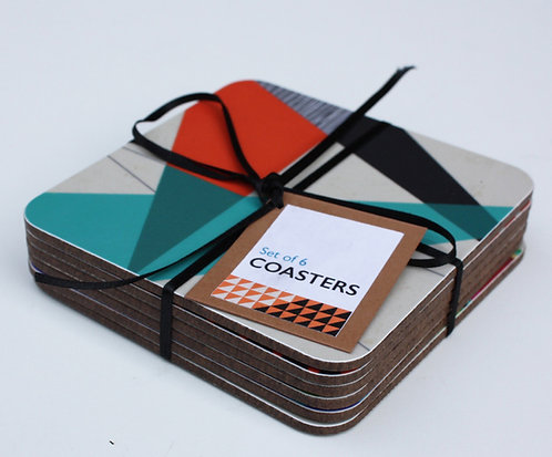 Set of 6 Geometric Melamine Coasters