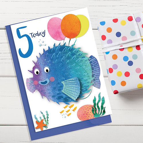 PACK of 6 Puffer Fish Birthday Card