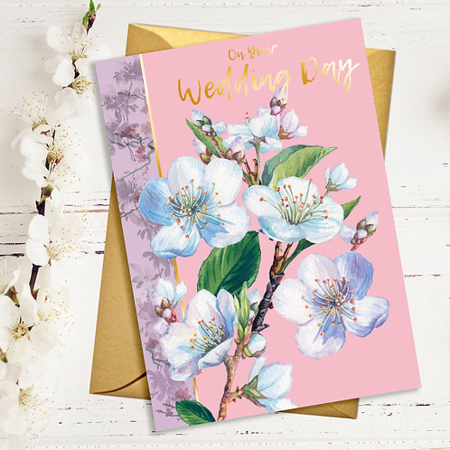 PACK of 6 Wedding Day Flower Card with Gold Detail