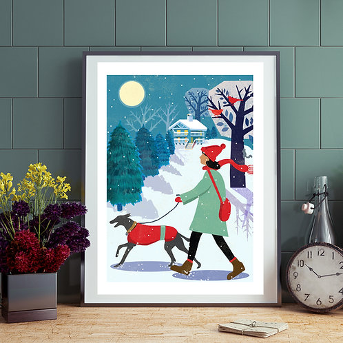 Winter Whippet Walk Print
