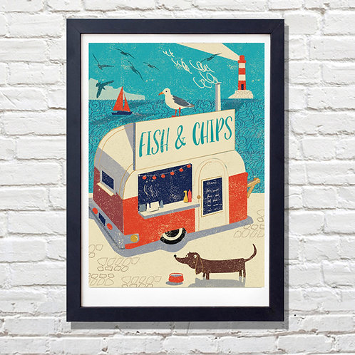 PACK of 2 Fish and Chips AHOY! Print