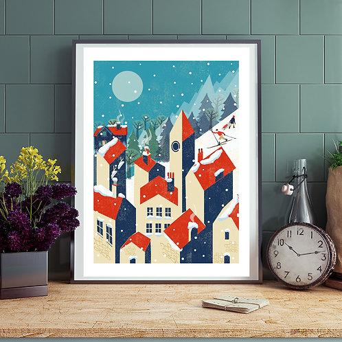 PACK of 2 Winter Village Print