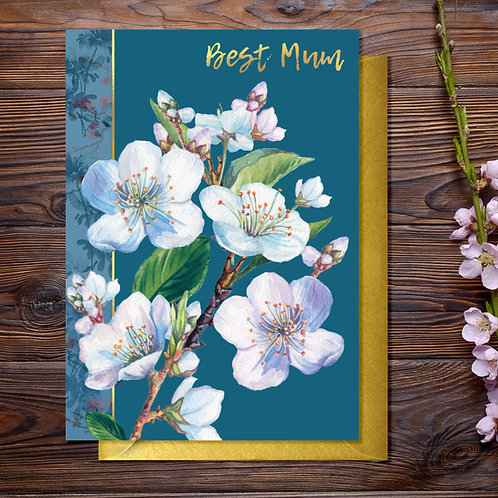 White Blossom Mother's Day Card with Gold Type