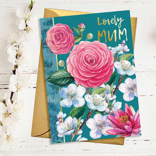 Lovely Mum Pink Flowers Card with Gold Detail