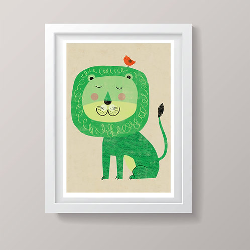 PACK of 2 Green Lion Print