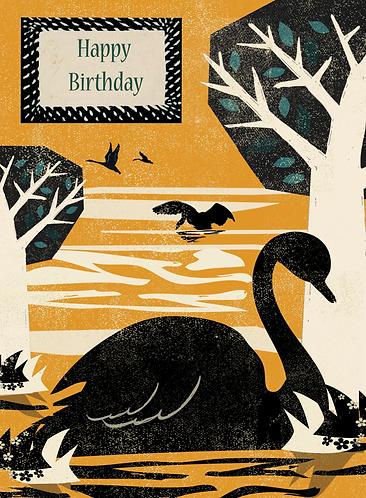 PACK of 6 Swan Birthday Card