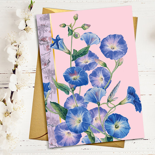 PACK of 6 Flowers Blank Card with Gold Accents