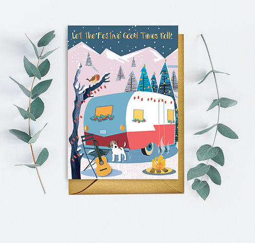 PACK of 6  Let the Festive Good Times Roll Caravan Card