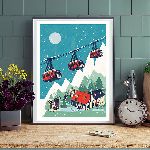 Cable Cars Winter Print