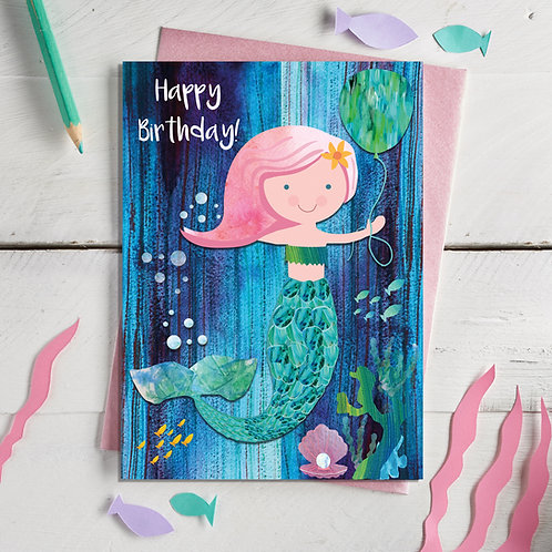 Mermaid Happy Birthday Card