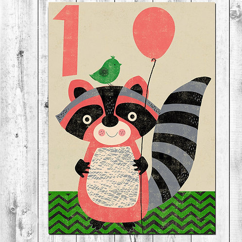 PACK of 6 Racoon Birthday Card