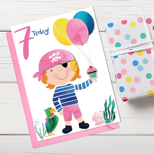 PACK of 6 Pirate Girl Birthday Card