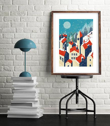 Winter Village A3 Print
