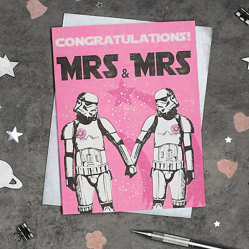 Stormtrooper Mrs and Mrs Wedding Card
