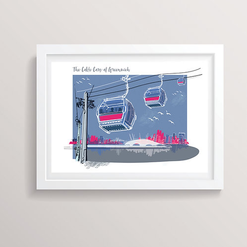 The Cable Cars at Greenwich A3 Print