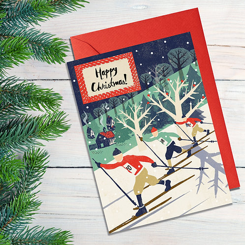Cross Country Skiing Christmas Card
