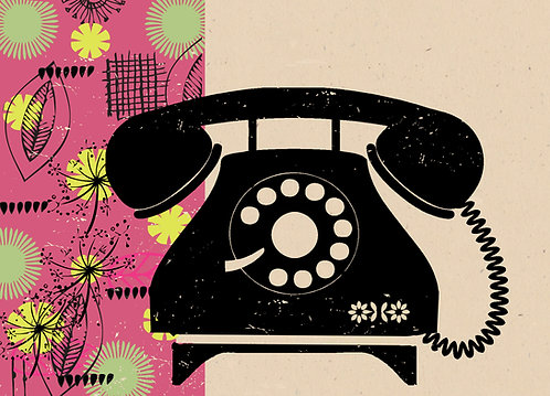 PACK of 6 Retro Telephone Card