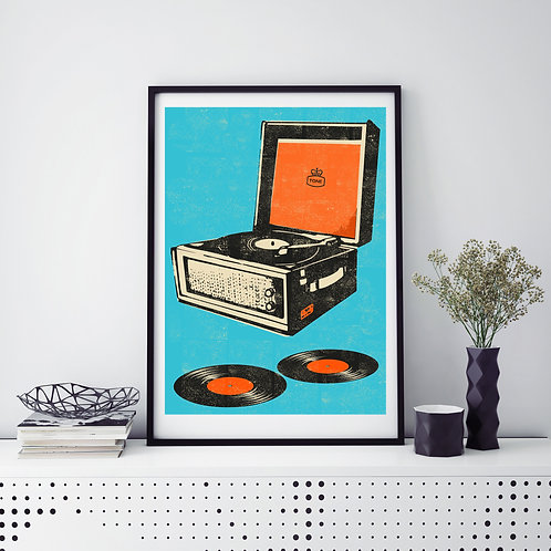 PACK of 2 Record Player Print