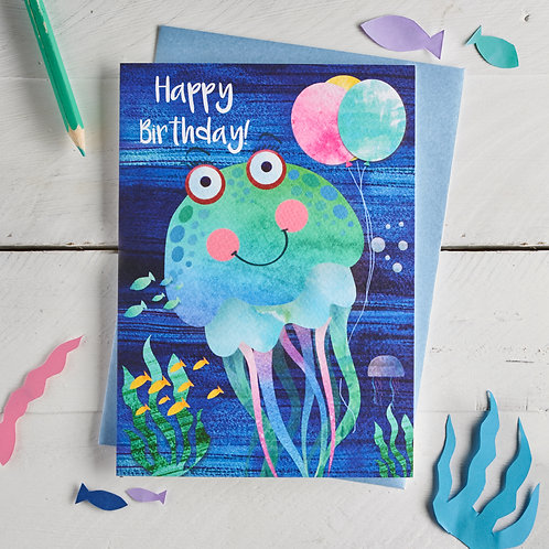 PACK of 6 Jellyfish Happy Birthday Card