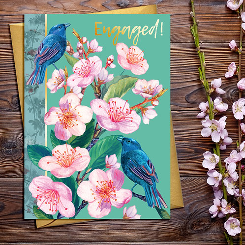 PACK of 6 Engaged Blossom Card with Gold Detail