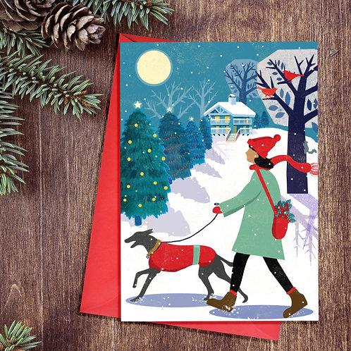 Festive Whippet Dog Card