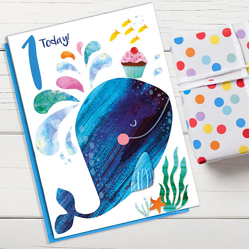 PACK of 6 Whale Birthday Card