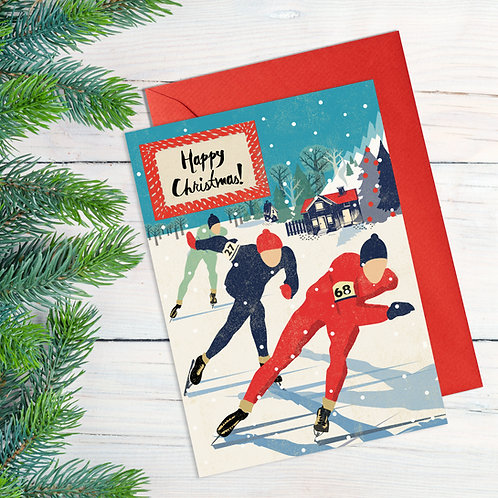 Speed Skaters Christmas Card