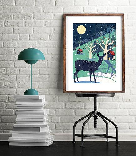 Winter Deer A3 Print