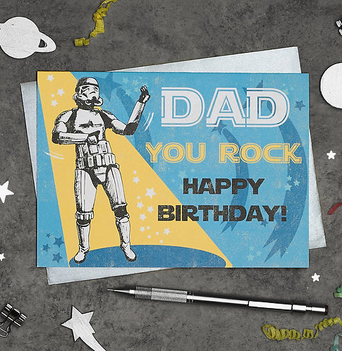 PACK of 6 Stormtrooper Happy Birthday Dad Card