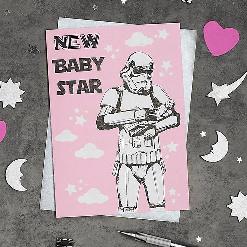 Stormtrooper New Baby Girl Card