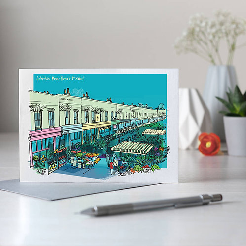 PACK of 6 Columbia Road Flower Market Card