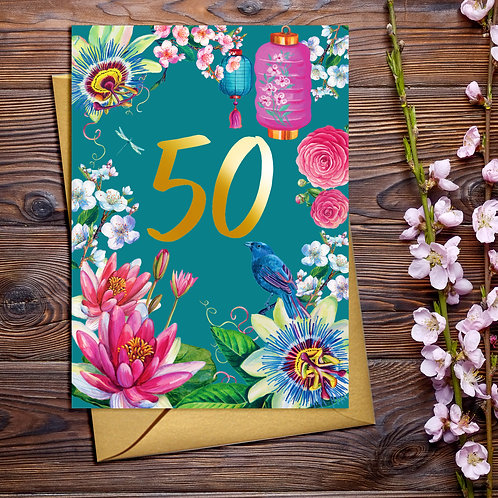 50th Birthday Flower & Lanterns Card with Gold Detail